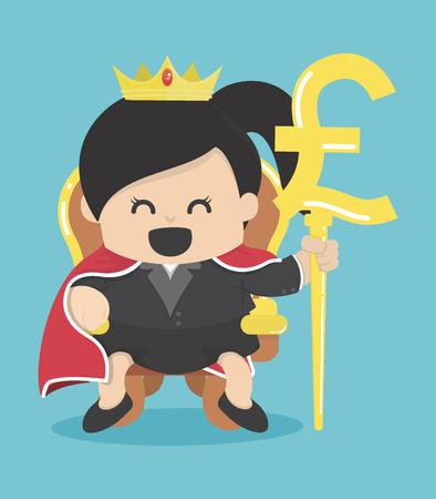 Reine des affaires avec le symbole de la livre d'argent Illustration