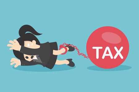 Femme d'affaires aplaties par l'impôt balle