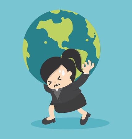 Femme d'affaires tenant le globe terrestre Illustration