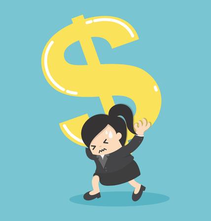 Symbole d'argent d'argent femme d'affaires dollar d'argent sur l'épaule et l'inquiétude Illustration