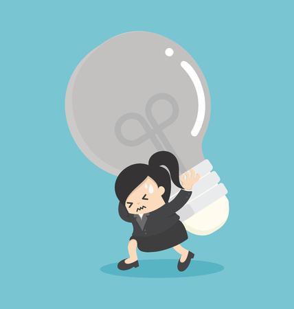 Femme d'affaires portant ampoules Avec de nombreuses fonctions inquiètent