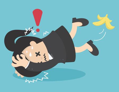 careless: Business Woman slip on banana peel and falling