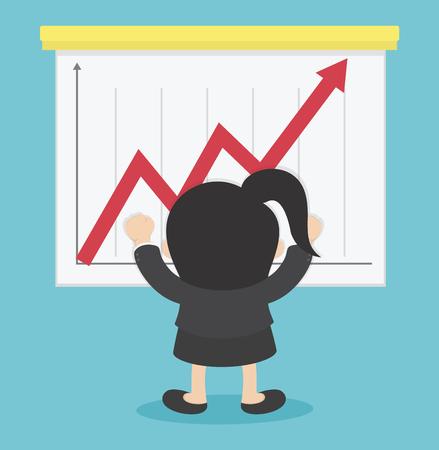 Femme d'affaires réussie en jouant le stock Illustration