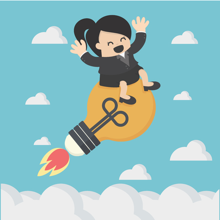 Business Woman floating on sky with light bulb