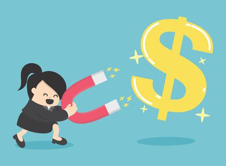 Concept de femme d'affaires d'attirer des investissements pièce d'argent avec aimant Illustration