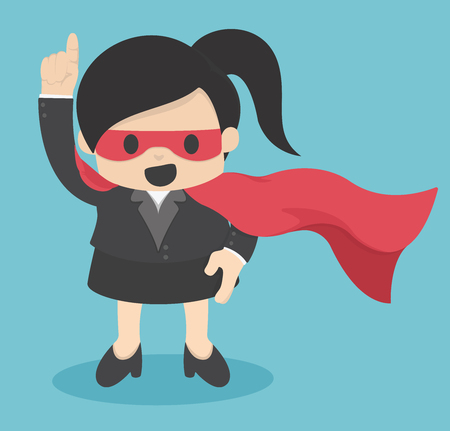 business confidence: Confident Super Business woman hero Illustration