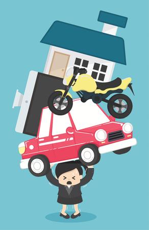 Concept de femme d'affaires de dette et prêt hypothécaire - illustration vectorielle