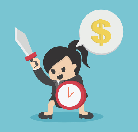 Business woman ready to fight Hold Shield of Time And Sword For success Business Concept Cartoon Illustration. Illustration