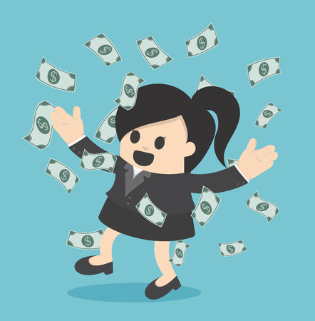 Happy business woman money rain throwing money up Business concept cartoon illustration