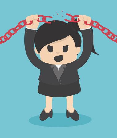 Femme d'affaires en rupture de chaîne en métal avec les mains