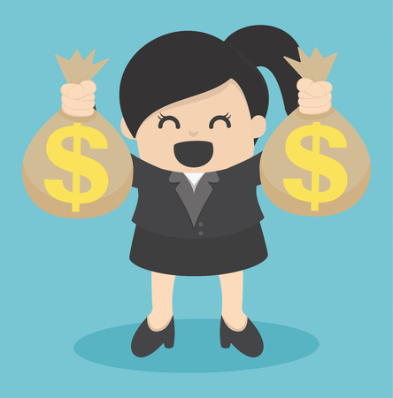 Business Woman holding money bag Illustration