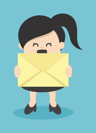 business woman holding envelope Illustration