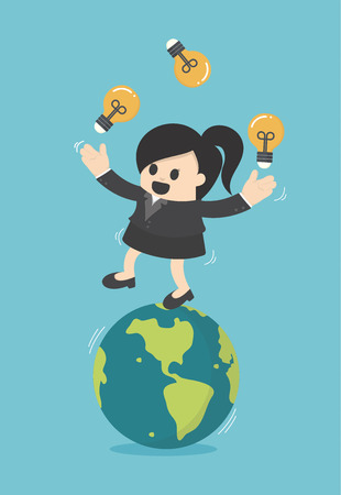 Business woman play gymnast bulbs light on earth Illustration
