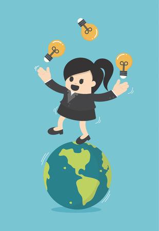 Business woman play gymnast bulbs light on earth Illustration