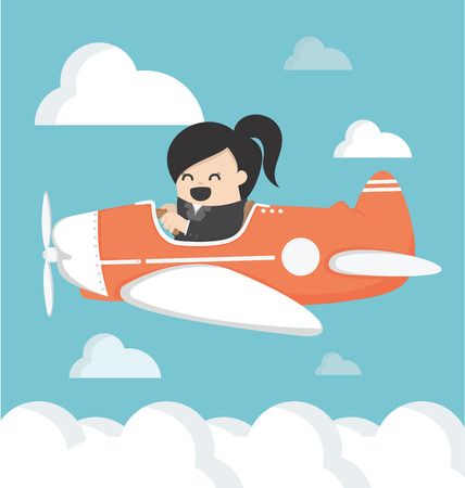 business woman on airplane Vector