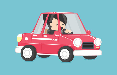 business woman driving ,Business woman in the car To Work Design Vector Illustration Illustration