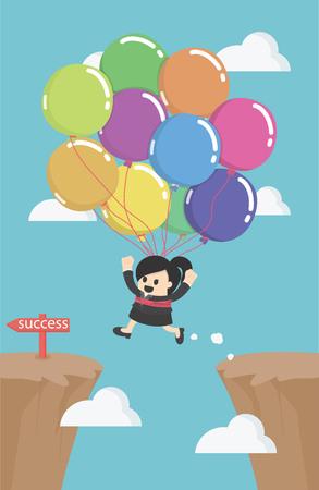 Femme d'affaires battant par des ballons à travers la falaise supérieure de l'écart pour le concept de réussite