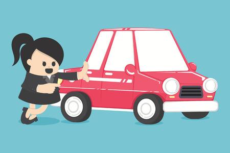 Femme d'affaires Concept Car loans