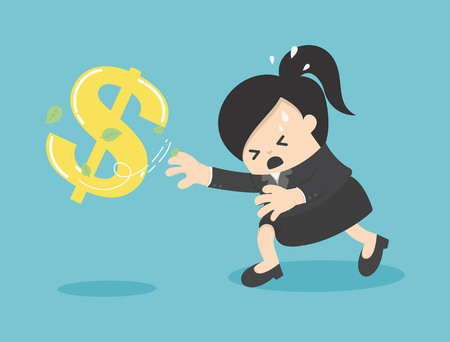 Cartoon Business woman chasing symbol money style. Vector illustration.