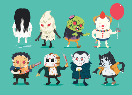 Scary halloween design set with vector vampire, wolfman, ghost, character, cutthroat, assassin hold electric Saw , zombie, Joker