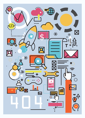 mobile marketing: Concept illustration of software and startup Illustration