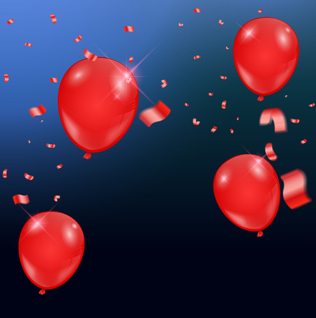 Templates of a celebration of the red balloons and ribbons, sparkling red color