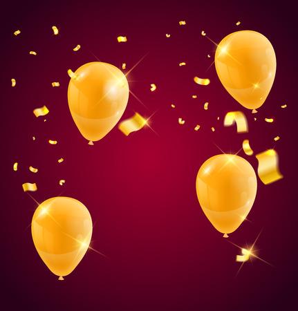Modèles d'une célébration des ballons d'or et des rubans, couleur dorée étincelante