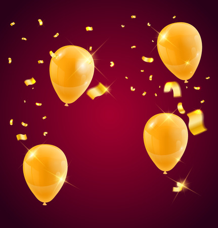 Templates of a celebration of the Golden balloons and ribbons, sparkling golden color