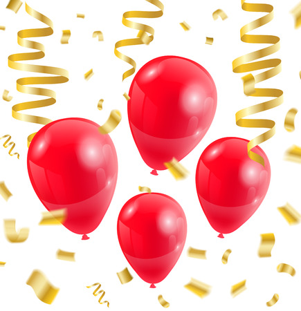 Celebration party red balloons confetti ribbon golden on white