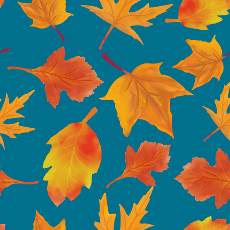 Pattern leaves autumn vector illustration watercolor maple
