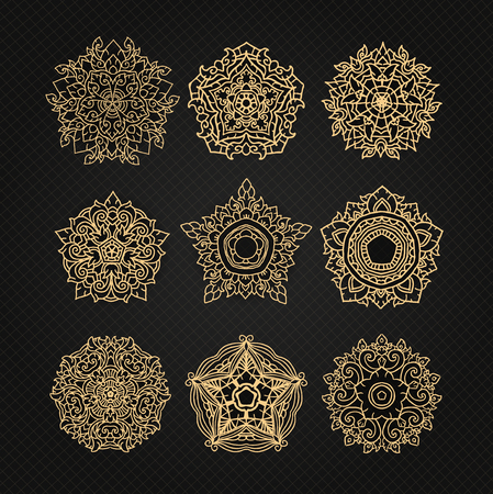 set of circular ornaments sketches for tattoo graphic Thai design Illustration