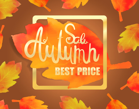 Calligraphy vector illustration poster for autumn sale