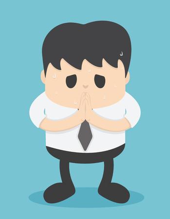 Gente de negocios que se arrepiente de mostrar el gesto con la mano, discúlpeme, en la forma de Tailandia, lo siento Ilustración de vector