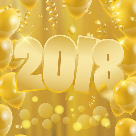 2018 Happy New Year Background. Party banner with golden balloons design of greeting card. Vector illustration. Illustration