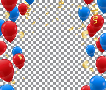 modèle de fond de célébration avec des confettis et des rubans et des ballons. Vecteur