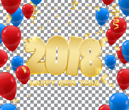 Happy New Year 2018  background wit confetti