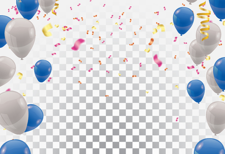 Blue balloons and white balloons , vector Celebration background template