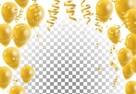 Gold balloons, white background. Vector illustration.