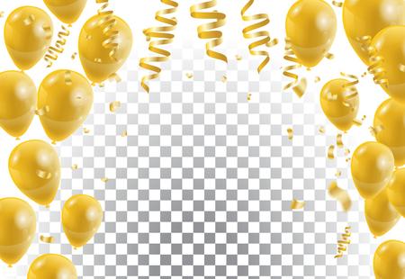 Złote balony, białe tło. Ilustracji wektorowych. Ilustracje wektorowe