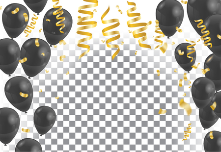 translucent background  template and confetti with Golden ribbons balloon black Illustration