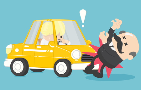 Businessman in a car accident vector
