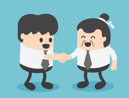 Les hommes d'affaires créent des relations d'affaires avec des hommes d'affaires chinois. Illustration