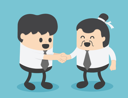 Businessmen create business relations with Chinese businessmen.