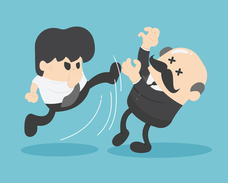 Boss businessman hit by businessman Illustration