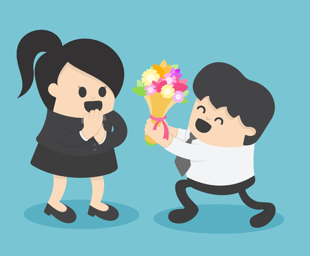 Businessman giving flower to businesswoman