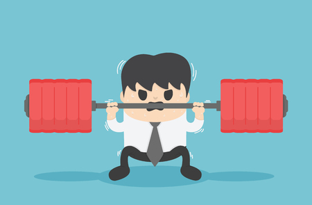 Businessman struggling in weightlifting Illustration