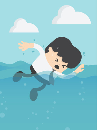 Businessman is about to drown. Stock Illustratie