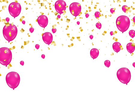 Celebration background template with confetti and ribbons and balloons.