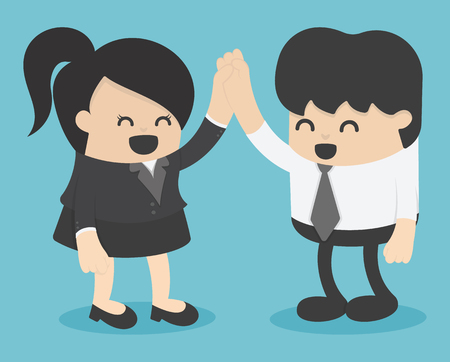 men and women shaking hands. entrepreneurs succeeding