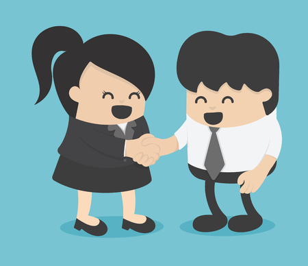 Man and woman shaking hands entrepreneurs succeeding Illustration